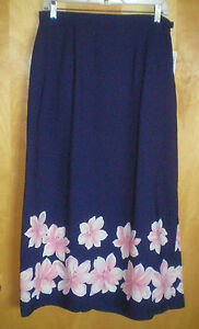 NWT-NEW-womens-L-size-12-navy-blue-pink-white-floral-long-SAG-HARBOR-skirt