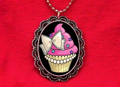 CUPCAKE BOW CAKE BAKER SWEETS PENDANT NECKLACE KAWAII