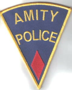 Jaws-Movie-Amity-Police-Logo-Shoulder-Patch-Red-Diamond-NEW-UNUSED