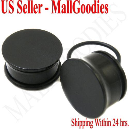 "0940 Black Acrylic Single Flare Ear Plugs 11/16"" Inch 18mm MallGoodies 1 Pair"
