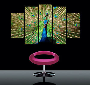 Peacock-Modern-Art-Wall-On-Quality-Canvas-Prints-Set-Of-5-With-Real-Clock-FRAMED