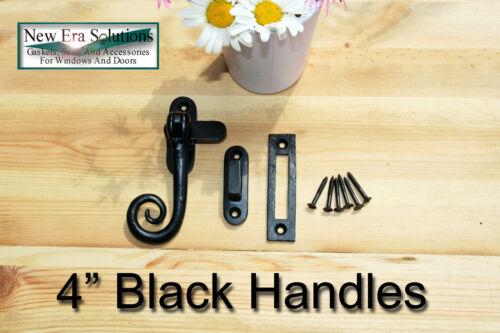 Noir antique fer curly singe queue fenêtre à battant reste poignées fixations.