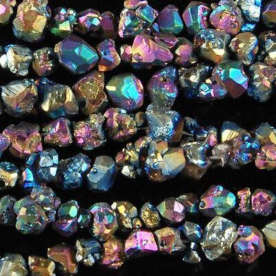 "0232 4-6mm Drusy druzy citrine titanum chips loose beads 16"""