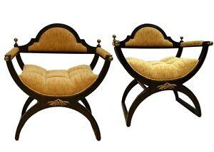 Pair-of-Walnut-Savonarola-Chairs-with-Bronze-Finials-and-Ormolu-Circa-1940s