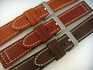 20mm-22mm-24mm-Hadley-Roma-Genuine-Leather-Watch-Band-Strap-Black-Tan-Brown-Cht