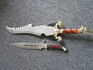Set Of 2 Jim Frost Dragon Head Sword W Wall Mount And