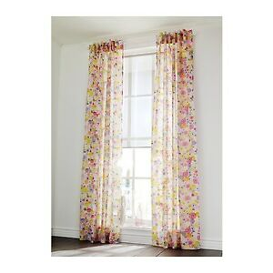 NEW-PAIR-OF-IKEA-RENATE-FLORA-CURTAINS-GREAT-FOR-KIDS-BEDROOM-3M-LONG
