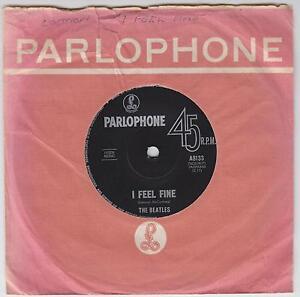 THE-BEATLES-I-Feel-Fine-Australian-Parlophone-2-track-vinyl-7-single