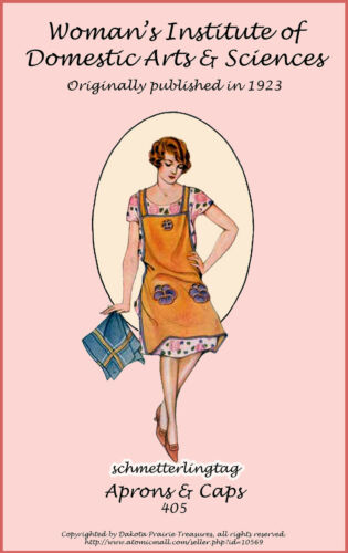 Vintage Aprons, Retro Aprons, Old Fashioned Aprons & Patterns    1923 Apron Book Flapper Roaring 20s Dust Caps DIY Reenactment Make Aprons Styles $12.99 AT vintagedancer.com