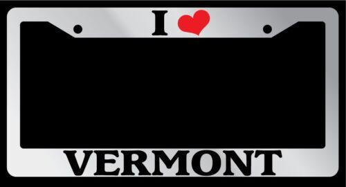 "Chrome License Plate Frame /""I Heart Vermont/"" Auto Accessory Novelty"