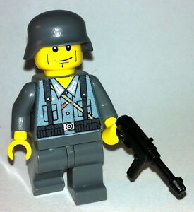 1-GERMAN-Wehrmacht-soldier-WW2-MP-40-lego-custom-figure-dark-grey-soldier