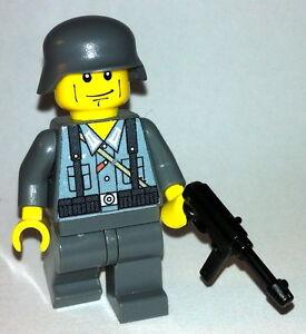1-GERMAN-Wehrmacht-soldier-WW2-amp-MP-40-lego-custom-figure-dark-grey-soldier
