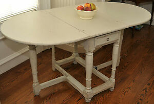 Image Is Loading SWEDISH PAINTED ANTIQUE GATE LEG TABLE Ca 1800