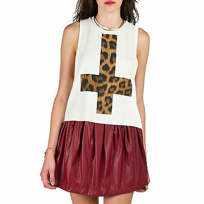 WHITE INVERTED CROSS GRUNGE LEOPARD PRINT SLEEVELESS MUSCLE TEE TANK TOP SHIRT