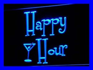 i558-b Happy Hours Bar Pub OPEN Beer Neon Light Sign