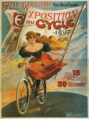 1897 CYCLE Exposition Bicycle Lady on Globe French Vintage Poster Repro FREE S/H