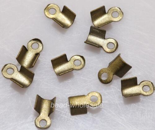 500PCS  Fold Over End Cord Findings Diy Crimp Bead Cap 6/9mm U Pick Color/Size
