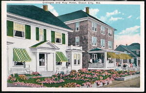 OCEAN-CITY-MD-Kaye-Hotel-amp-Cottages-Vintage-Postcard-Early-Old-Maryland-Beach-PC