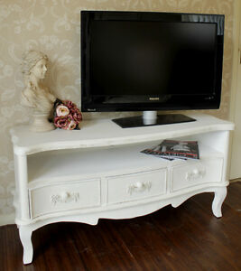 TV Meuble Blanc Shabby Armoire Chic TELEVISION Stand