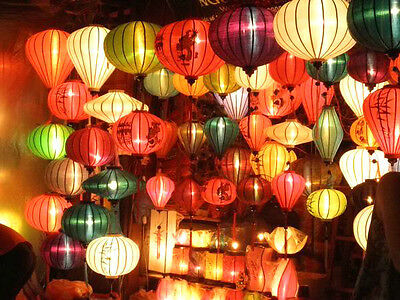 Lot of 12 Vietnamese HOI AN Silk Lanterns Wall WEDDING Party Decor - Home Garden