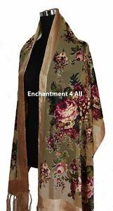 Elegant-Camel-Vintage-Floral-100-Silk-Burnout-Velvet-Oblong-Shawl-Wrap-Scarf