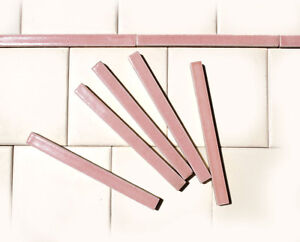 VINTAGE-1930s-PRETTY-PINK-Ceramic-LINER-BORDER-TILES-1-2-034-x-6-034-Luscious-Glaze
