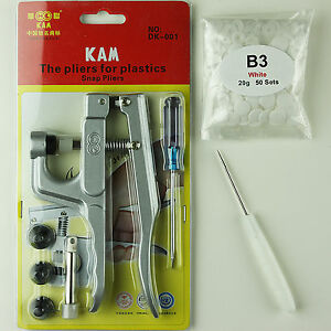 New KAM Plastic Snap Press Pliers +50 Snaps for Cloth Diapers/PUL/Baby Bibs USA!