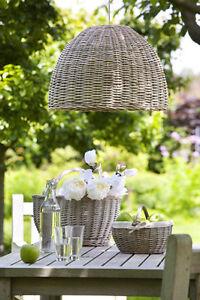 neu rattan deckenlampe decken lampenschirm korb braun landhausstil 38 cm country ebay. Black Bedroom Furniture Sets. Home Design Ideas