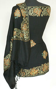 Crewel-Embroidered-Wool-Shawl-Green-amp-Tan-on-Black-Kashmir-Embroidery-Stole