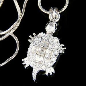 TURTLE-made-with-Swarovski-Crystal-Sea-Tortoise-terrapins-Cross-Charm-Necklace