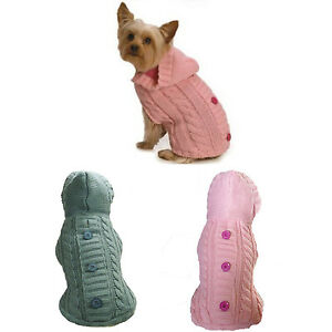 Fisherman-Cable-Knit-Hooded-Sweater-Your-Choice-of-Pink-or-Gray-Size-Dog-Clothes