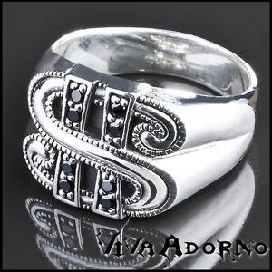 argent-925-anneau-Dollar-Zircon-Noir-Style-BIKER-ROCK-DAUM-FR-BUCK-SR30