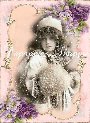 Victorian Fabric Block Chic Shabby Altered Art Lavender Snowy Winter Muff