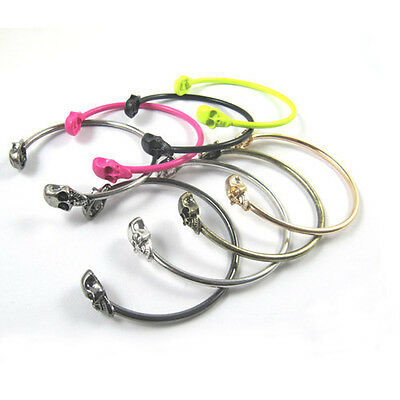 Vintage Alloy Skull Punk Open Charms Gothic Rock Hand Cuff Bangle Bracelet Cool