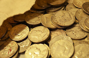 FULL-ROLL-90-SILVER-FRANKLIN-HALF-DOLLARS-20-USA-COINS-MIXED-DATES-1948-63