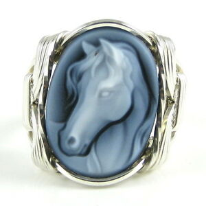 Horse-Black-Agate-Stone-Cameo-Ring-925-Sterling-Silver-Jewelry-Any-Size
