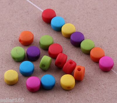 300 pcs mixed color acrylic flat spacer findings Loose beads charms 6x4mm