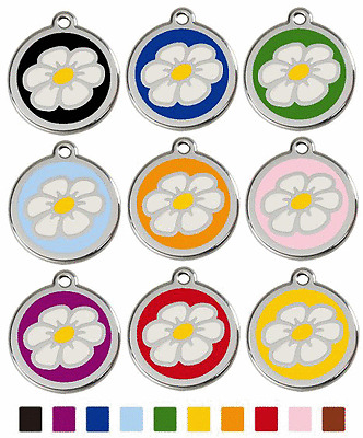 RED DINGO DAISY ENAMEL/STAINLESS STEEL DOG/CAT ID TAG TAGS - FREE ENGRAVING