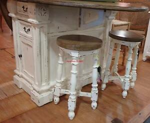 White Distressed Drop Leaf Breakfast Counter Table Kitchen
