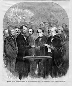 President Abraham Lincoln Taking Oath At Second