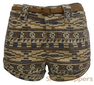 Womens-SHORTS-PRINT-LINEN-Shorts-jeans-Ladies-Vintage-HOT-PANTS-Size-8-10-12-14
