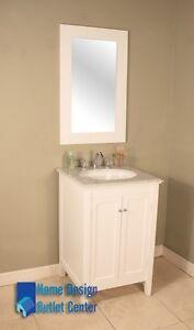 24 Single Sink Bathroom Vanity Cabinet Solid Wood Carrara Marble White 206 Ebay