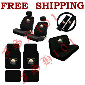 NEW-15PC-SET-CARTOON-PUCCA-CAR-SEAT-COVERS-STEERING-WHEEL-COVER-amp-FLOOR-MATS