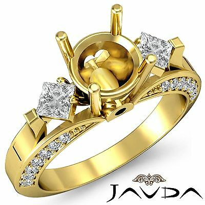 Three Stone Round Princess Accent Diamond Engagement Ring 18k Yellow Gold 0.95Ct
