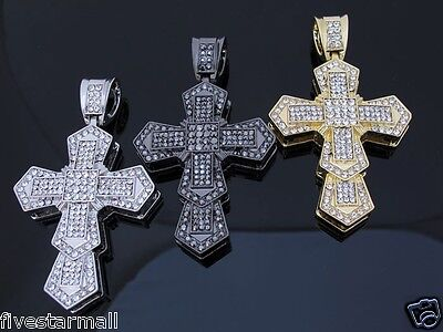 ICED OUT CZ DOUBLE CROSS PENDANT HIP HOP BLING COLORS: SILVER / GOLD / GUNMETAL