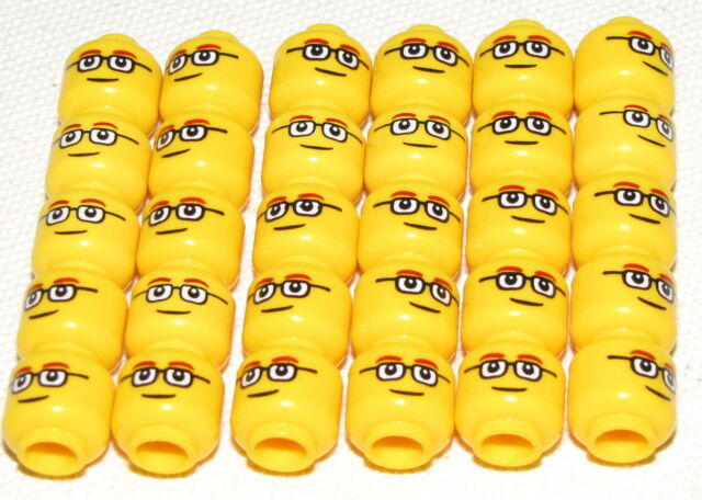 LEGO LOT OF 30 MINIFIGURE HEADS WITH GLASSES AND BROWN EYEBROWS TOWN MINIFIGS