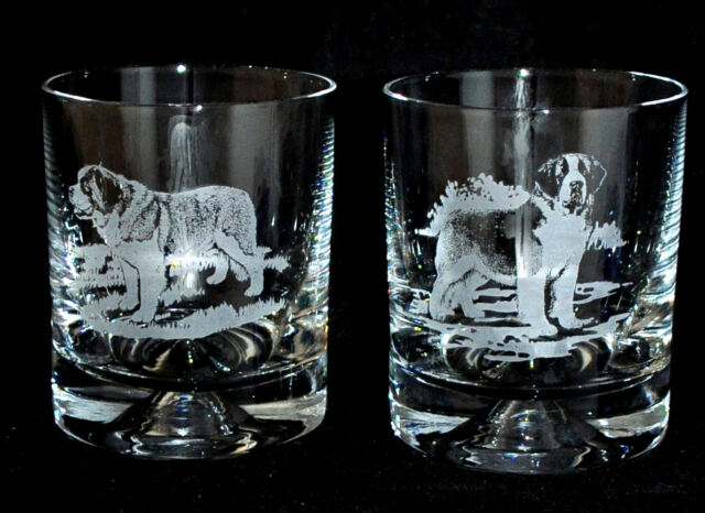 SAINT BERNARD *DOG GIFT* Boxed PAIR GLASS WHISKY TUMBLER