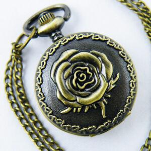 Antique-Bronze-Rose-case-Copper-toned-Quartz-Pocket-Watch-Pandent-Necklace-Chain