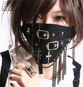 Silent-Killer-Gothic-Punk-Buckle-Strap-Appliqued-Chain-Fringe-Leather-Face-Mask