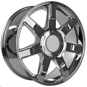 22 chrome 7 spoke factory style cadillac escalade wheel rim new 5309 w cap ebay. Black Bedroom Furniture Sets. Home Design Ideas